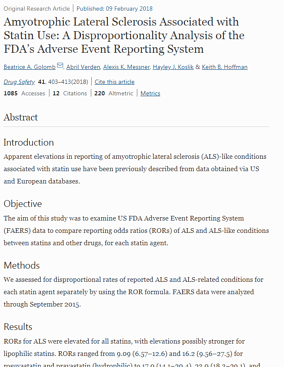 Amyotrophic lateral sclerosis associated with statin use a disproportionality analysis of the FDAs Adverse Event Reporting System