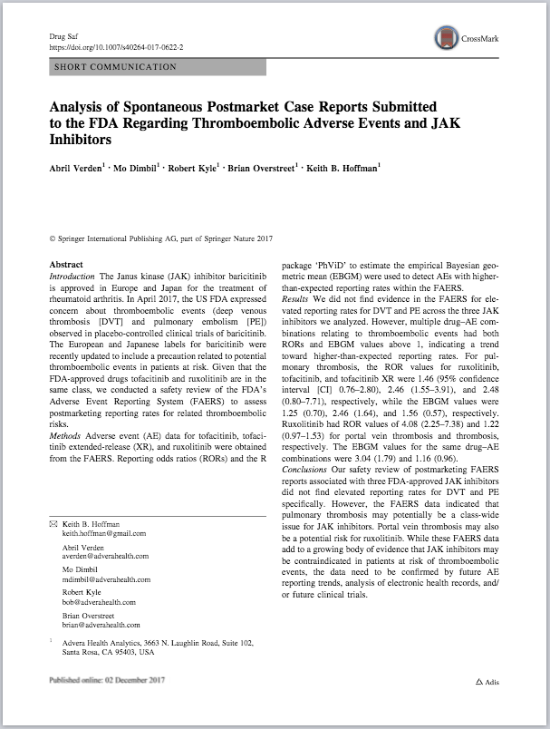 Analysis of Spontaneous Postmarket Case Reports Submitted to the FDA Regarding Thromboembolic Adverse Events and JAK Inhibitors
