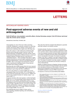 Post-approval adverse events of new and old anticoagulants
