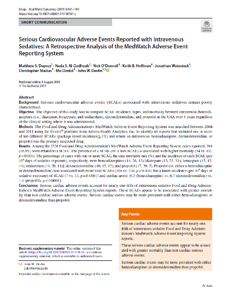 Serious Cardiovascular Adverse Events Reported with Intravenous Sedatives A Retrospective Analysis of the MedWatch Adverse Event Reporting System