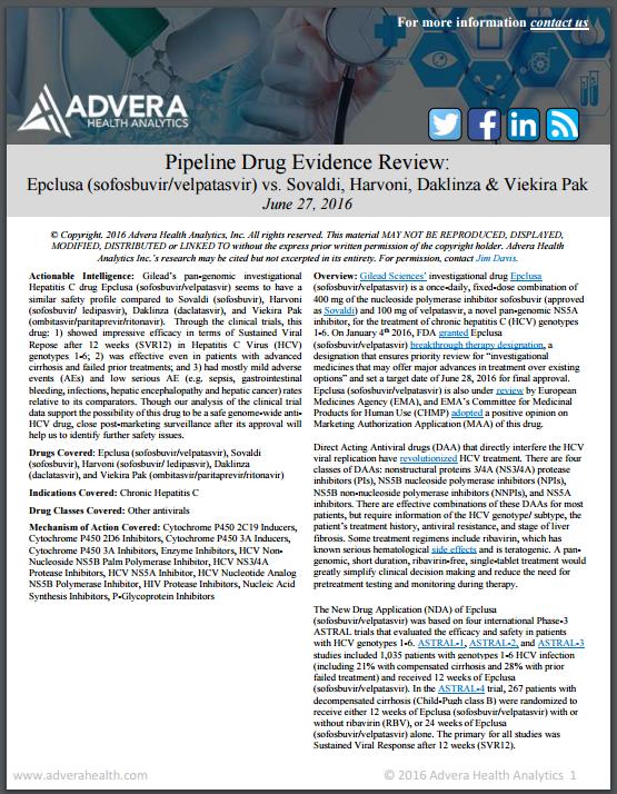 Evidence Review: Epclusa vs. Solvaldi, Harvoni, Daklinza and Viekira Pak for Hepatitis C