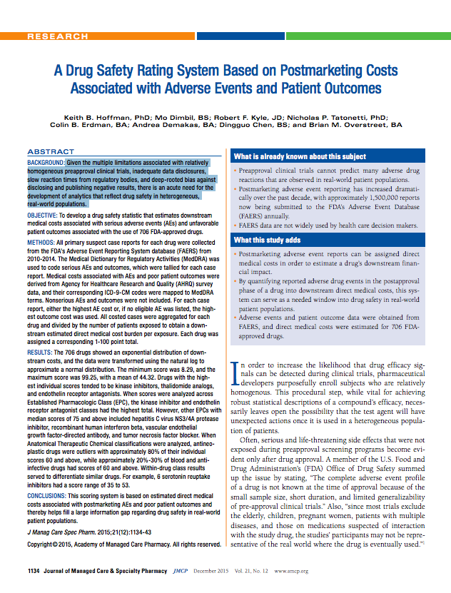 A drug safey rating system based on post-marketing costs associated with adverse events and poor patient outcomes